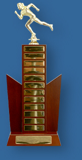 Perpetual Trophy LAA10t Deco inspired walnut timber riser with gold engraving plates