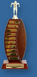 Perpetual Trophy LCR25t Walnut timber curved wing with gold engraving plates