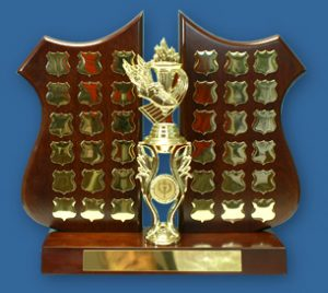 Perpetual Trophy LS274t Half shield walnut timber wing with gold engraving plates
