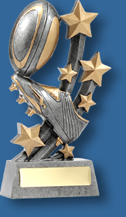 Rugby Trophy Generic Resin. Sentinel Stars Series. Can be engraved!