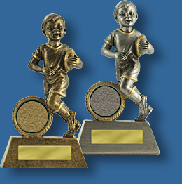 Rugby Trophy TR#601_6Little Champs Series. Silver and gold rugby trophies.