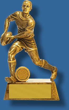 Rugby Trophy Male Resin. Show & Go Series. Gold figure. Engravable.