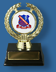 Academis award with crest in holder.