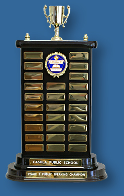 Perpetual Trophy Rosewood timber stand with gold engraving plates.
