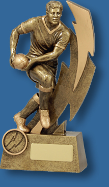 Rugby Trophy Male Resin. Shazam Series. Can be engraved.. Gold Tone Rugby Ball Carrier.