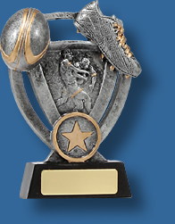 Rugby Trophy Generic Resin. Budget Theme Series. Able to be engraved. Antique Silver theme with ball boot and player detail. Gold trim.