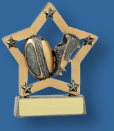 Rugby Trophy Generic Resin. Mini Star Series. Can be engraved. Silver Gold trim with ball and boot detail inside a star.