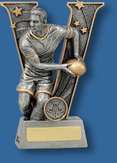 Rugby Trophy Male Resin. V Series Rugby. Iconic Rugby passing action.