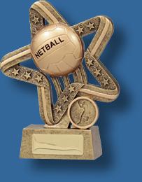 Gold netball star and ball award