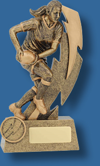 Rugby Trophy Female Resin. Shazam Series. Lady Rugby player sprinting with ball in both hands.