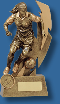 Soccer trophy 6 action female gold figure.