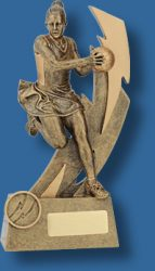 Large gold netball figurine trophy