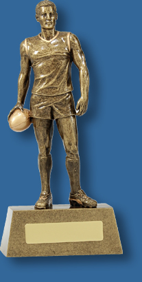 Tall gold Aussie Rules figure award