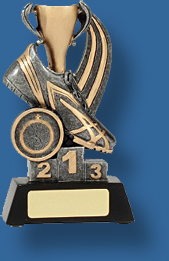 Gold cup and track shoe Athletics trophy