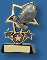 Silver Aussie Rules ball and star award