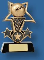 Gold netball star and ring award