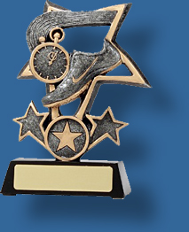 Silver star Athletics Trophy. Track Trophy Generic Resin. Attractive Tri-Star Series Themed with Stars.