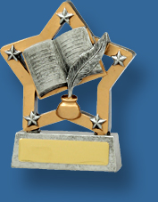 Academic star and book trophy