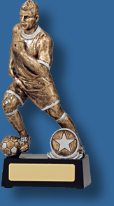 Soccer trophy 9 Antique gold action figure