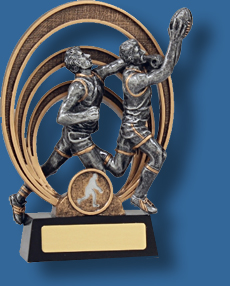 Silver mark action Aussie Rules trophy