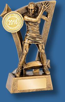 Gold netball figure trophy