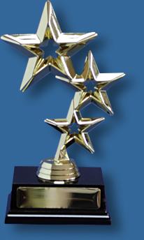 Gold triple star trophy, shiny plastic figure on dark rosewood timber base.