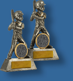 Silver male and female Baseball figures