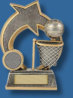 Silver netball star and ball award
