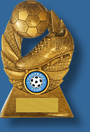 Soccer trophy 7 Gold tone ball and boot.