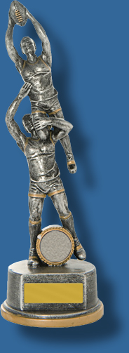Tall silver mark action Aussie Rules trophy