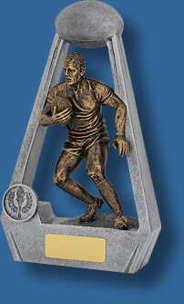 Rugby Trophy Male Resin. Bling Series. Engravable plate. Bronze tone male rugby runner inside Silver arch.