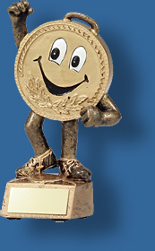 Gold smiling face Athletics trophy. Athletics Trophy Generic Resin. Mini-Medal Series cartoon theme. Engravable