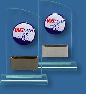 Free standing awards with school logo