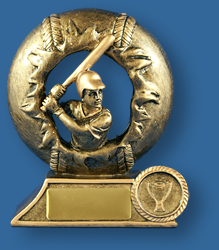 Gold wreath and Baseball figure award