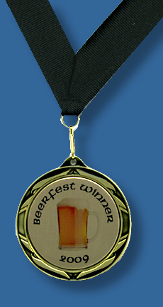 Gold medal with beerfest logo and black ribbon