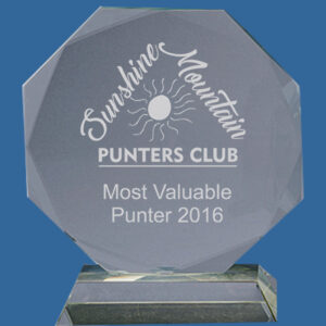 Octagonal glass award available in 6 sizes, Octagonal shape with faceted edges on glass base, engrave with logo and text