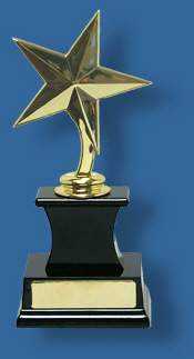 Gold Plastic Star Achiever on Rosewood