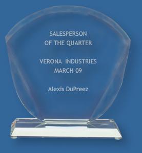 Clear glass fan trophy