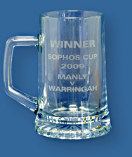 Etched beer mug trophy