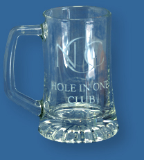 Logo engraved to glass beer mug