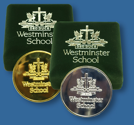 Westminster School medals in cases