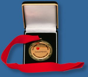 Medals with ribbon and case.