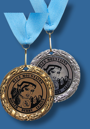 Gold and silver 69mm medal with 50mm printed plates