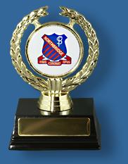 Gold wreath trophy with school logo