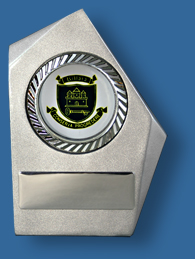 Silver free standing award with school logo