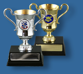 Metal cups with school logo