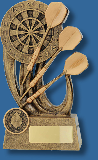 Gold Darts and board trophy