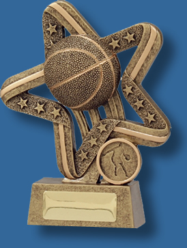 Gold star with centred Basketball trophy