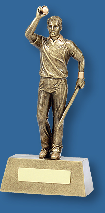 Tall gold Cricket figure trophy