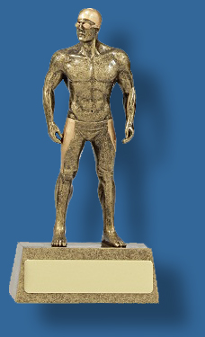 Male swimming trophy on dias